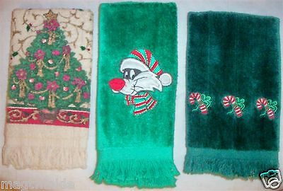 3 Christmas Hand Towels Cotton Terry Cloth Embroidery Canes Cat Tree #EE-1083MNO