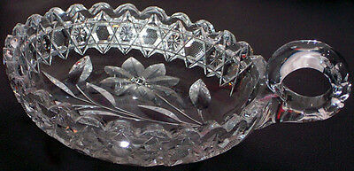 Collectible Frosted Etch Floral Glass Decorative Eared Trinket Dish Candy Bowl