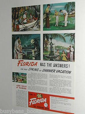 1949 FLORIDA Tourism advertisement, Sunshine State sights and sports, color art