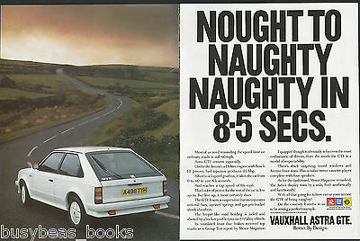 1984 VAUXHALL ASTRA 2-page advertisement, British advert, Astra GTE