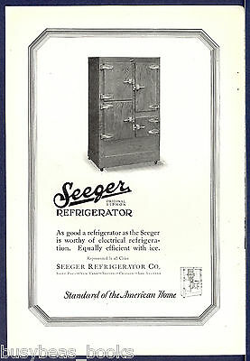 1925 SEEGER Refrigerator advertisement, Icebox, ice or electric models