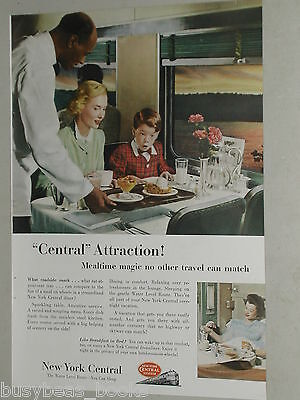 1952 New York Central railroad advertisement, NYC RR dining car, Black waiter