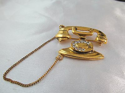 Vintage GOLD & CRYSTAL DIAL TELEPHONE BROOCH PIN, Large, Detailed, SPARKLY