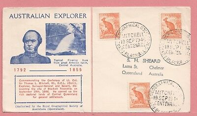 1946 Australia Mitchell Explorer Cachet Cover Geographical Society