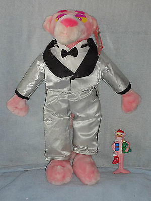 """Kellytoy 17"""" Pink Panther Plush in Silver Tuxedo w Tag & Christmas Ornament"""
