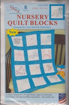 """1 pack Jack Dempsey """"Under the Sea"""" Stamped Embroidery  Quilt Blocks"""