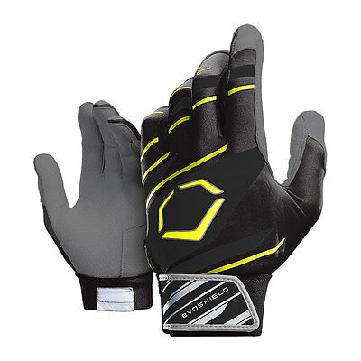 Evoshield 2.0 Protective Adult Baseball Batting Gloves, Black/Neon Yellow Medium