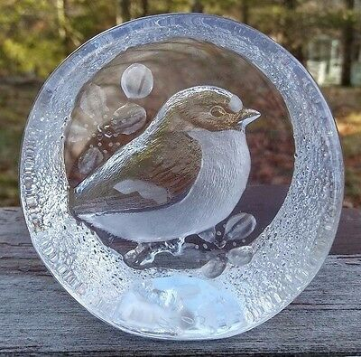 Mats Jonasson - Signed Crystal Chickadee Bird Paperweight - Sweden - #9205