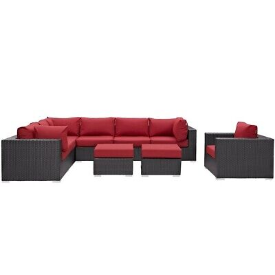 Modway Convene 9 Pc Outdoor Sectional Set, Espresso Red - EEI-2208-EXP-RED-SET