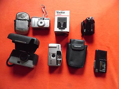 Lot 6 vintage cameras microcassette & video recorders elect. flash. Sears Canon+