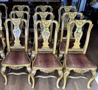 Set of 8 Antique Italian Paint Decorated Dining Chairs