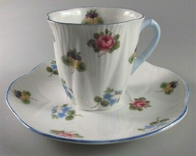 SHELLEY ROSE PANSY FORGET ME NOT dainty shape DEMITASSE CUP 2 1/2- SET OF 2 CUPS