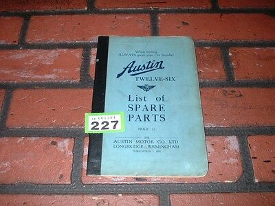Genuine Austin Twelve Six  Illustrated Spare Parts Book. 1931