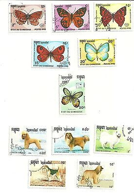 Cambodia 11 Stamps 5 x1950 butterflies 5 dogs 1 x 20r 1989 Butterfly all used
