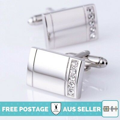 Silver and Crystal Rectangle Cufflinks - Premium Quality, Wedding, Formal