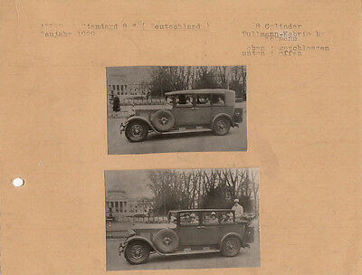 "Two Small Adler Standard ""8"" Pullman-Kabrio By Karmann Photos. Pasted To Card."