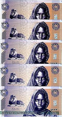 LOT Somaliland, 5 x 1000 shillings, 2006, P-CS1, UNC   Lion, Girl