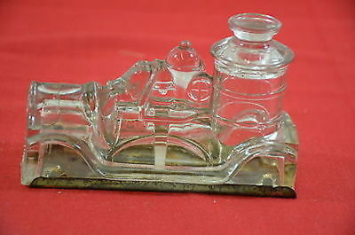 Glass Candy Container Metal Bottom Bottle Steam Engine Fire Truck  1399