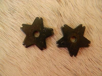 "Black Steel Replacement Western Spur Rowels Notched Star 5 Point 1 1/8"" Size"