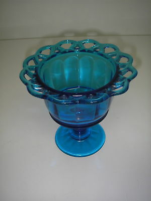 Imperial Glass LACED EDGE Antique Blue Footed Candy Dish Crocheted Lace Elegant