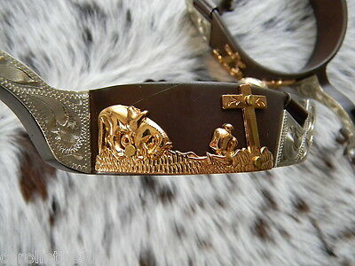 Western Brown Steel Spurs Praying Cowboy & Horse Design In Gold BEAUTIFUL!