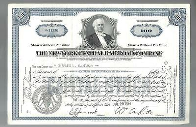 NEW YORK CENTRAL RAILROAD 100 Shares Stock Certificate 1954