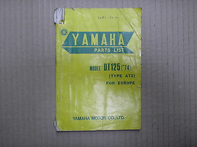 Yamaha DT 125 DT125 1974 type AT2 genuine parts catalogue 459-28198-E5 USED