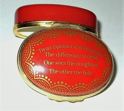 Halcyon Days Enamel Box - The Difference Between An Optimist And A Pessimist