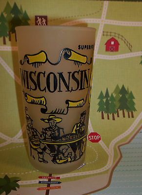 Vintage Souvenir Frosted Glass WISCONSIN - Yellow K154