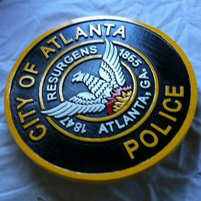 Police Atlanta Sign 3D routed carved award patch plaque