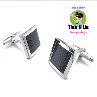 Carbon Fibre and Silver High Quality Cufflinks for Wedding, Business, Formal