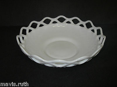 """Imperial Glass LACED EDGE Milk Opaque Round Bowl 10¾"""" Elegant Glassware Marked"""