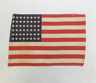 """Antique US FLAG 48 Star Small WWII Era Correct, 7"""" x 10 3/8"""" (Stains) 0313-4"""