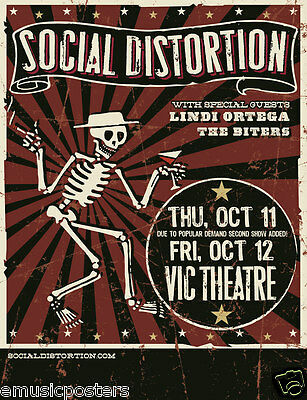 Social Distortion / Lindi Ortega / The Biters 2012 Chicago Concert Tour Poster