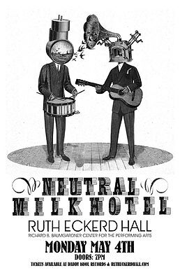 NEUTRAL MILK HOTEL 2015 TAMPA CONCERT TOUR POSTER - Indie Rock, Folk Punk Music