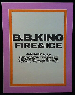 B.B KING 1969 BOSTON TEA PARTY Concert Poster FIRE & ICE