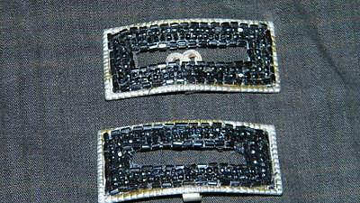 Vintage Antique Black Glass Beaded Shoe Clips Clip Clothing Accessories