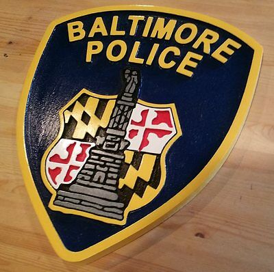 Police Department Baltimore routed carved award patch sign