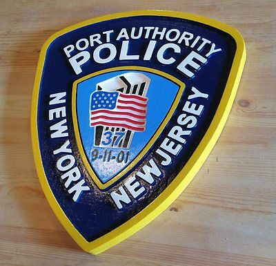 New York Port Authority 3D routed custom wood patch plaque Sign