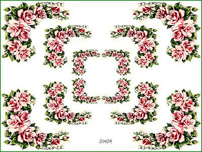 PinK & WHiTe CaBbaGe RoSe CoRNeRs SHaBbY WaTerSLiDe DeCALs