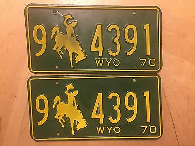 "Mint 1970  Wyoming  Pair License Plate Plates  "" 9 4391 "" Wy 70  Wyo Bronco"