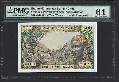 Equatorial African States, Chad 500 Francs 1963 EAS 4e - PMG 64