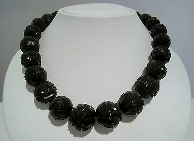 **HUGE** VICTORIAN Antique WHITBY JET Carved Rosette BEAD Mourning NECKLACE 114g