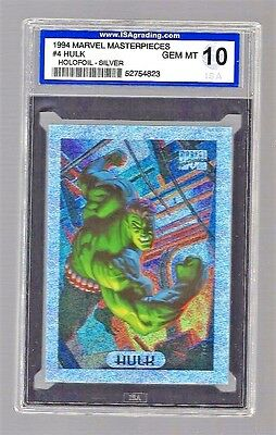 1994 Marvel Masterpieces Holofoil-Silver Hulk #4 ISA 10 #52754823