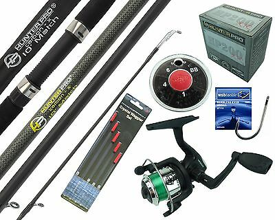 Complete Starter Beginner Fishing Kit Set & 10' Rod Reel Line Floats Hooks Shot