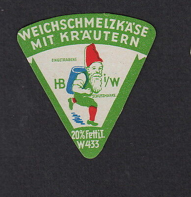 Ancienne petite étiquette fromage cheese label Allemagne BN11334 Lutin