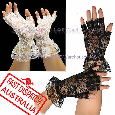 Ladies Punk Goth 20s 80s Wedding Church Party Cuff Gloves Lace Half Finger