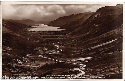 Winding Road through Glen Docherty to Loch Maree, sepia RP postcard, unposted