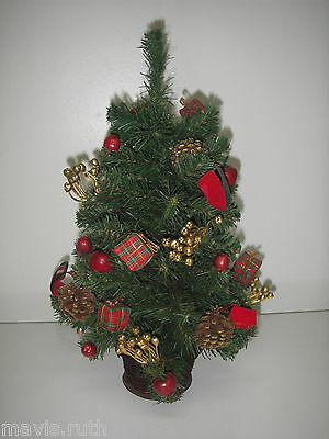 "Artificial Mini 18"" Table Top CHRISTMAS Tree Decorated Pine cones/apple/ribbon.."