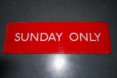 LONDON TRANSPORT ENAMEL PLATE BUS STOP 'G' PLATE SIGN 'SUNDAY ONLY' 415mmx127mm